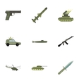 Military weapons icons set flat style vector image vector image