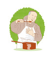 monk chef cook tasting food vector image