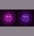 neon zombie head in purple and violet color vector image vector image