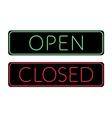 Open and Closed door neon Sign vector image
