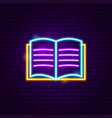 open book neon label vector image