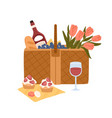 picnic basket with delicious food for outdoor vector image vector image