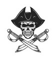 pirate skull with crossed sabers design element vector image vector image