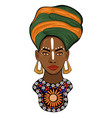 portrait an african princess isolated vector image vector image
