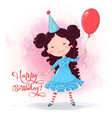 postcard poster a cute girl with a balloon vector image vector image