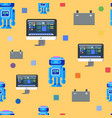 robot programming seamless pattern flat character vector image