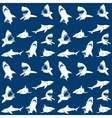 Sharks silhouettes seamless pattern white on blue vector image