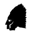 silhouette face native american in profile vector image vector image