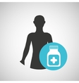 silhouette man health bottle medicine icon vector image