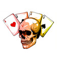 skulls with playing cards set vector image vector image