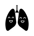 smiling human lungs glyph icon vector image vector image