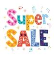 Super sale decorative lettering type design vector image vector image