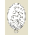 Tattoo ship black and white stencil vector image vector image