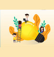 teamwork on finding new ideas little people vector image vector image