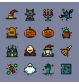 Thin line Halloween icons set vector image