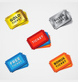 ticket icon set different color icon vector image