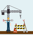 worker with under construction icons vector image vector image
