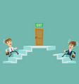 young people climbs the stairs vector image vector image