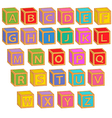 alphabet english colorful blocks vector image vector image