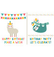birthday greeting cards set cute sloth and lama vector image vector image