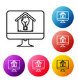 black line computer monitor with smart house and vector image vector image