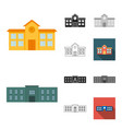 building and architecture cartoonblackflat vector image vector image