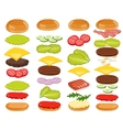 Burger Ingredients Set on White Background vector image