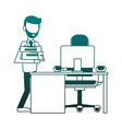 Businessman at office blue lines