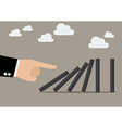 Businessman hand pushing the domino tiles vector image vector image