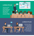 Businesspeople meeting and chart Office workers in vector image vector image