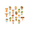 cartoon collection of little children in different vector image vector image