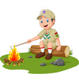 cartoon scout roasting marshmallow vector image
