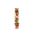 christmas floral tree letter I vector image vector image