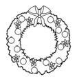 christmas wreath flower bow ball decoration vector image vector image