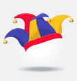 colored jester hat with bells on white vector image