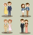 cute couple character collection for wedding vector image