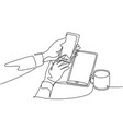 device gadget concept one single line drawing of vector image