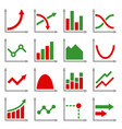 diagrams and graphs icons set vector image