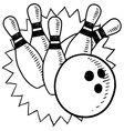 Doodle bowling vector image