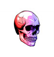 dotted colorful halftone skull icon drawn with vector image