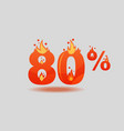 eighty percent discount numbers on fire vector image vector image