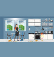 family cleaning kitchen vector image
