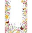 floral background decorative summer flower frame vector image vector image