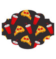 frame with pizza and soda pattern background vector image vector image