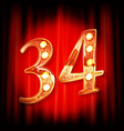 gold numbers 34 greeting card vector image vector image