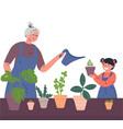 grandmother and girl water houseplants vector image vector image