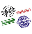 grunge textured hazardous area stamp seals vector image vector image