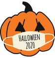 halloween 2020 pumpkin wearing a face mask vector image vector image