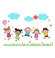 hand drawn cartoon kids jumping together outdoor vector image