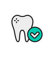 healthy tooth dental care flat color line vector image
